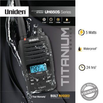 Uniden-UH850S 5 watt waterproof handheld UHF